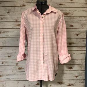Joe Fresh light pink gingham button front top